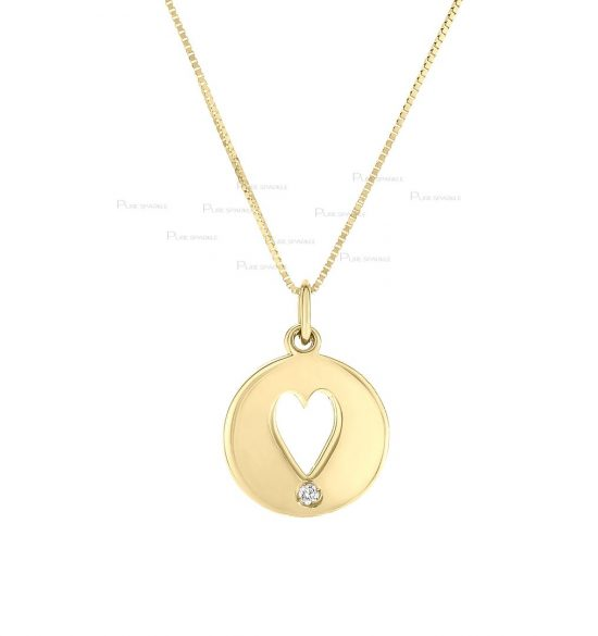 14K Gold 0.02 Ct. Diamond Love Heart In Circle Pendant Necklace