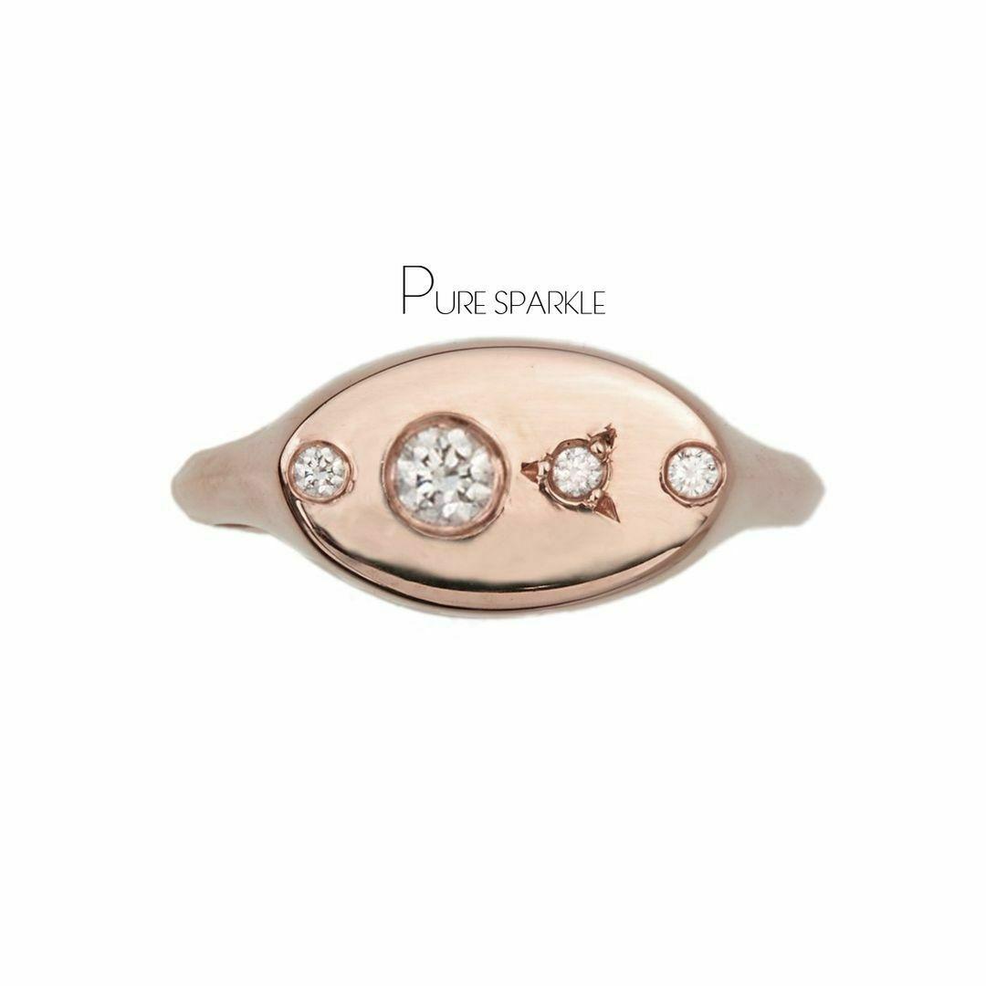 14K Rose Gold Lab Grown Diamond Classic Signet Wedding Ring 6.25 US