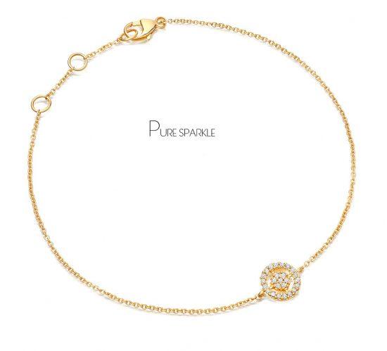 14K Gold 0.13 Ct. Diamond Concentric Circles Charm Chain Fine Bracelet