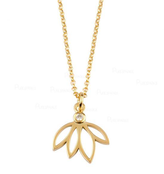 14K Gold 0.03 Ct. Diamond Lotus Charm Floral Pendant Necklace Jewelry