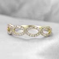 14K Gold 0.25 Ct. Diamond Infinity Knot Design Promise Ring Fine Jewelry