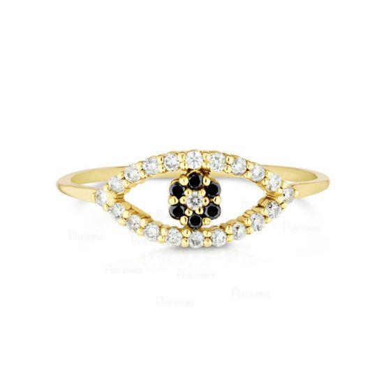 14K Gold 0.15 Ct. White And Black Diamond Evil Eye Ring Fine Jewelry