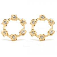 14K Gold 0.25 Ct. Diamond O Shape Studs Earrings Handmade Fine Jewelry