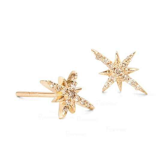 14K Gold 0.26 Ct. Diamond Starburst Studs Earrings Jewelry Gift For Her