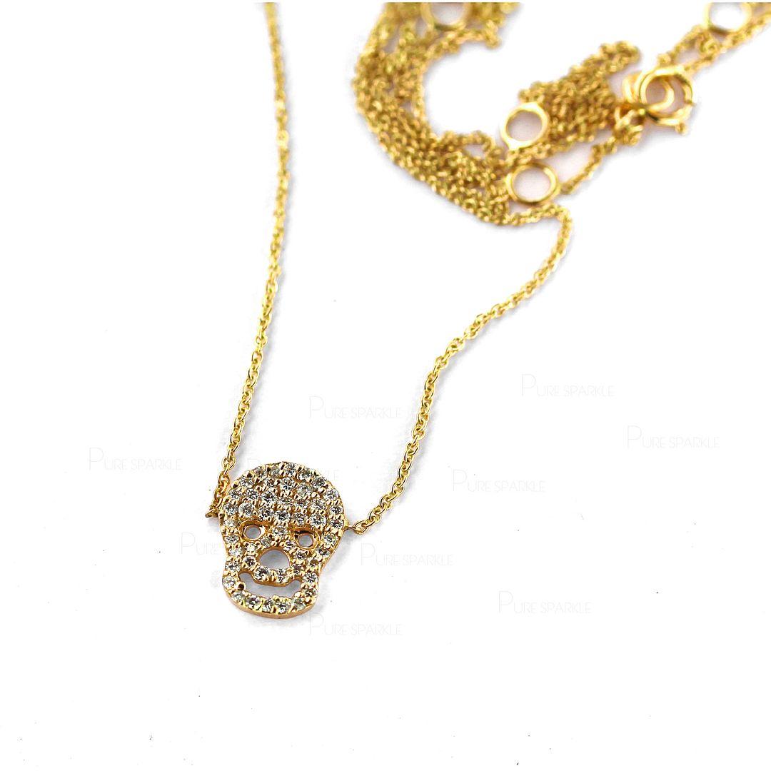 14K Gold 0.26 Ct. Diamond Skull Charm Pendant Necklace Halloween Jewelry
