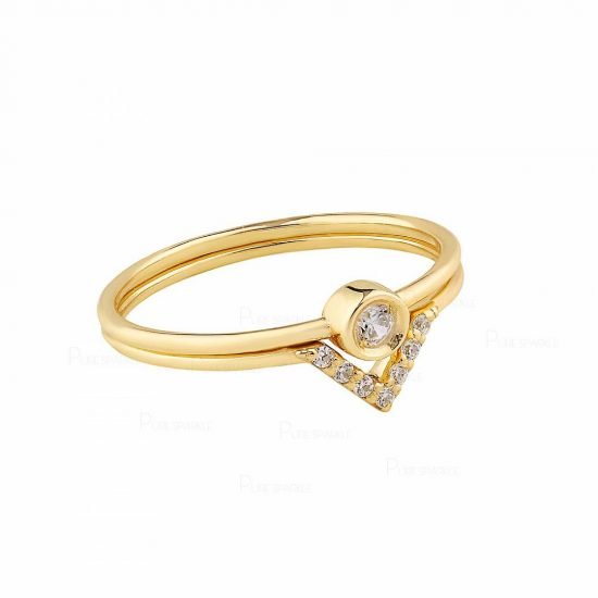 14K Gold 0.11 Ct. Diamond Two Engagement Wedding Rings Set Fine Jewelry