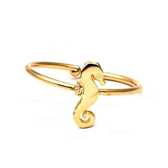 14K Gold 0.01 Ct. Diamond Seahorse Design Bypass Ring Fine Jewelry Gift