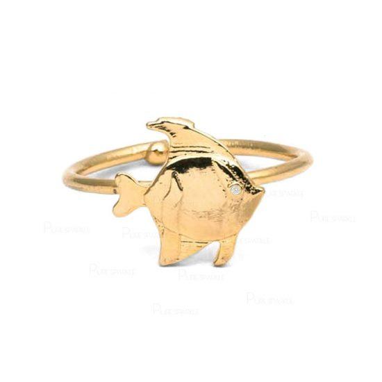 14K Gold 0.01 Ct. Diamond Fish Design Bypass Ring Fine Jewelry Gift