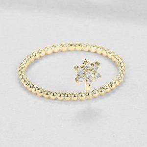 14K Gold Beaded 0.08 Ct. Diamond Flower Ring Fine Jewelry Birthday Gift
