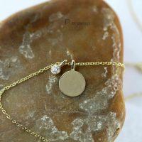 14K Gold 0.06 Ct. Diamond Disc Charm Pendant Necklace Fine Jewelry