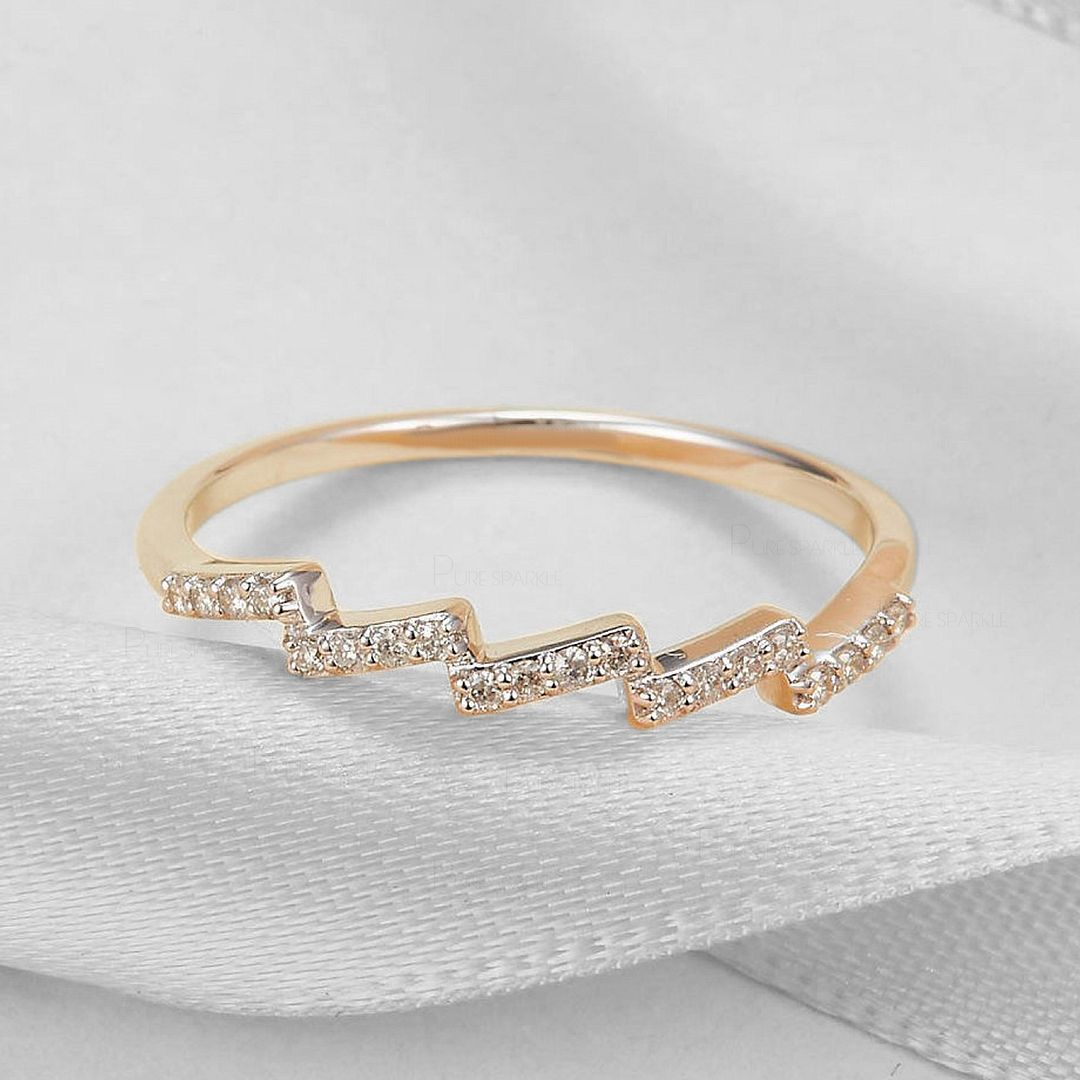 14K Gold 0.13 Ct. Diamond Wave Design Ring Fine Jewelry Gift For Her
