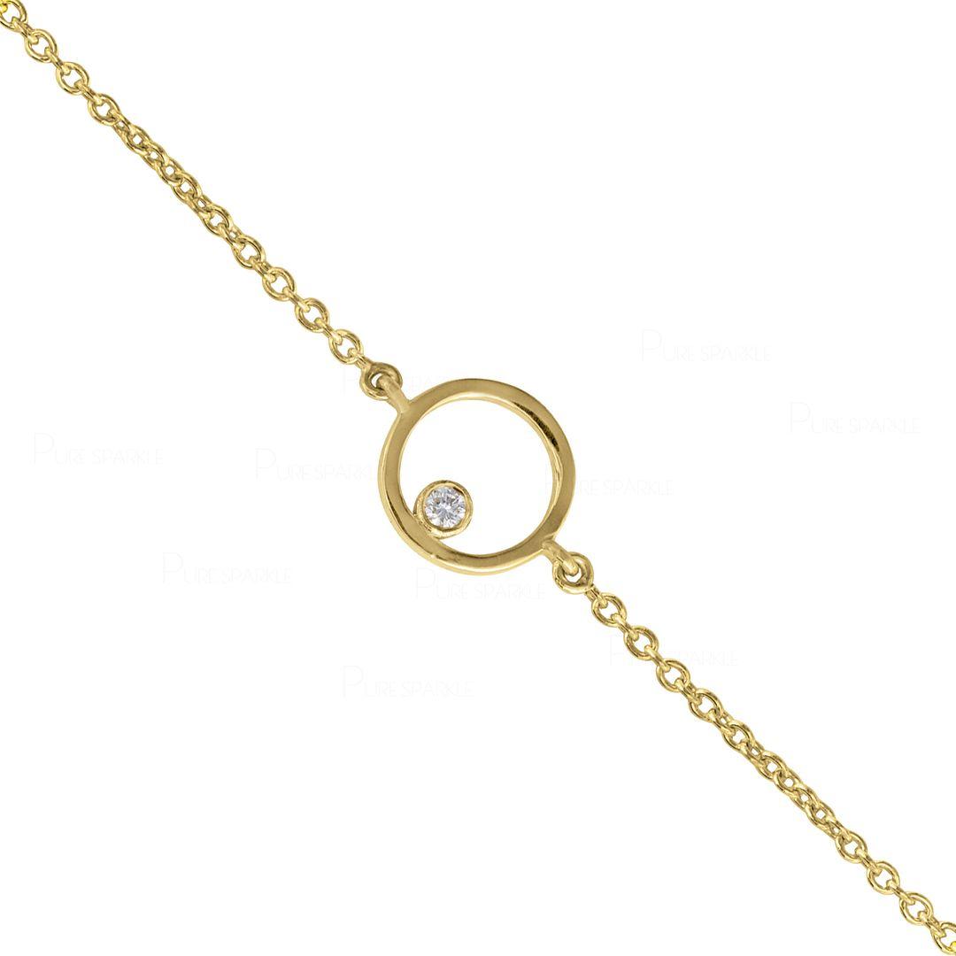 14K Gold 0.03 Ct. Diamond 10 mm Open Circle Chain Bracelet Fine Jewelry