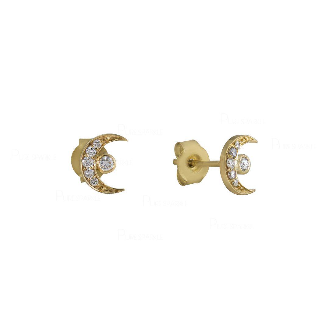 14K Gold 0.16 Ct. Diamond Crescent Moon Studs Earrings Celestial Jewelry