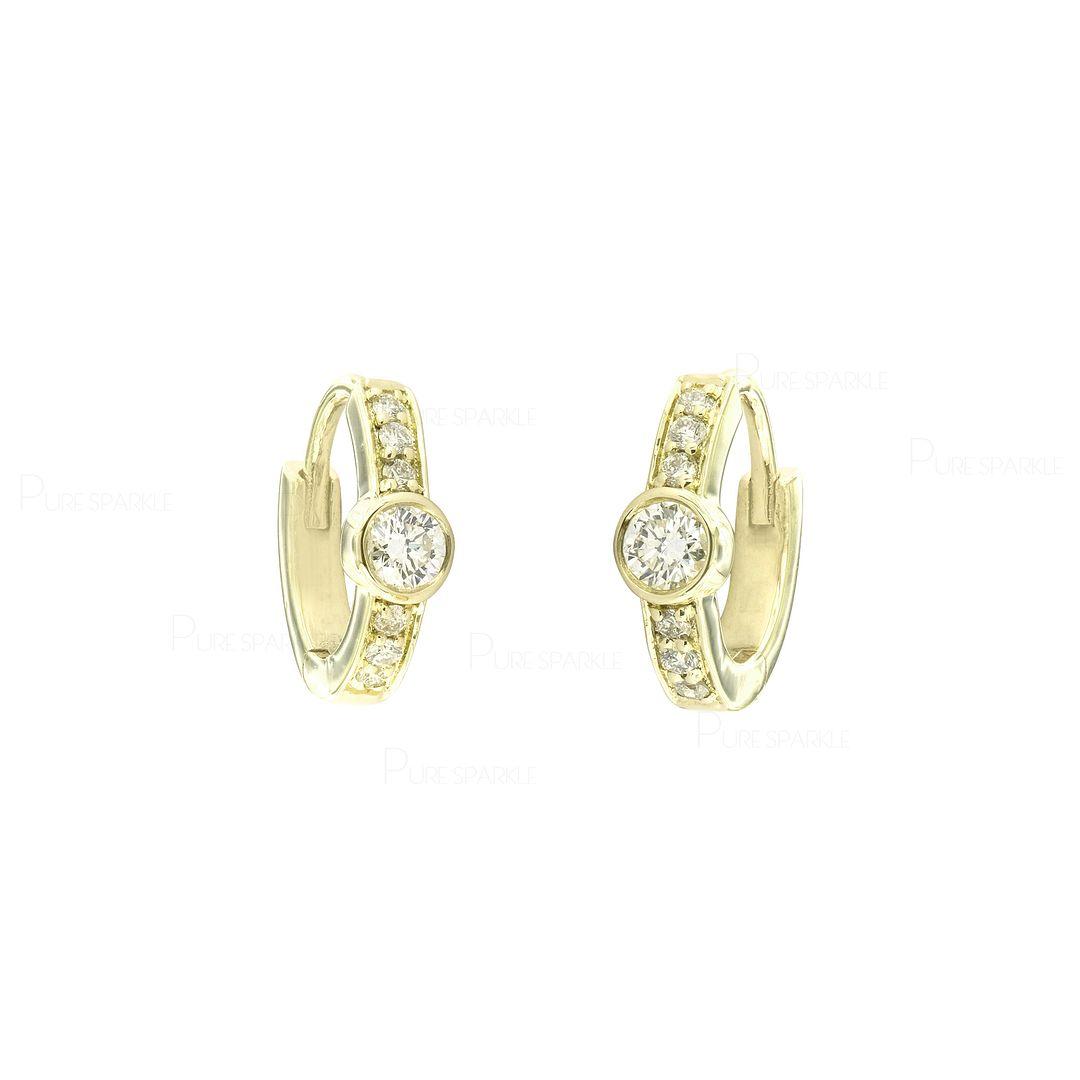 14K Gold 0.30 Ct. Diamond Delicate Wedding Hoop Earrings Fine Jewelry
