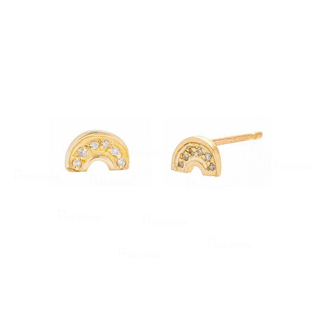 Rainbow Studs | Pave Diamond Earrings