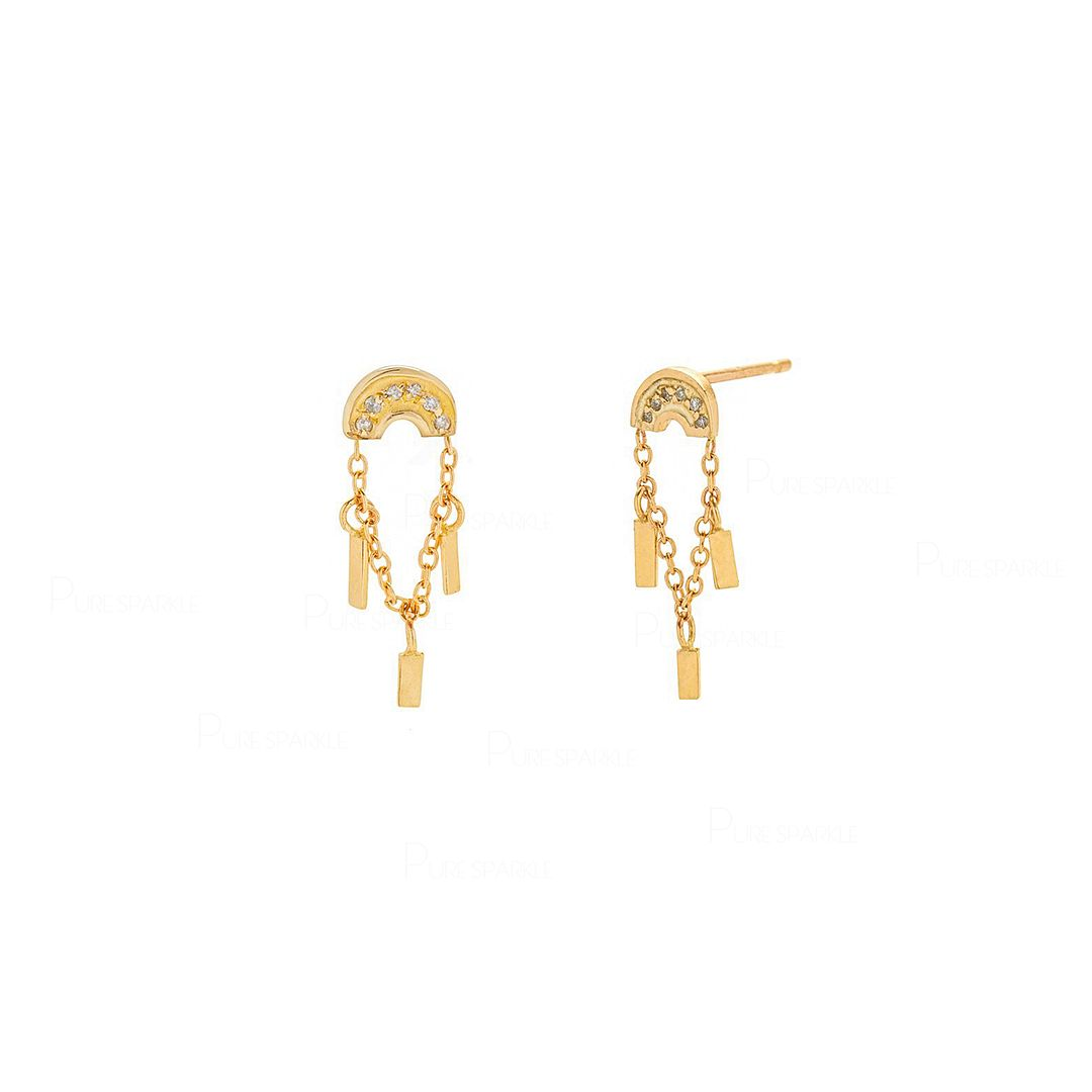Rainbow Studs With Rain Drops | 14k Gold Diamond Earrings