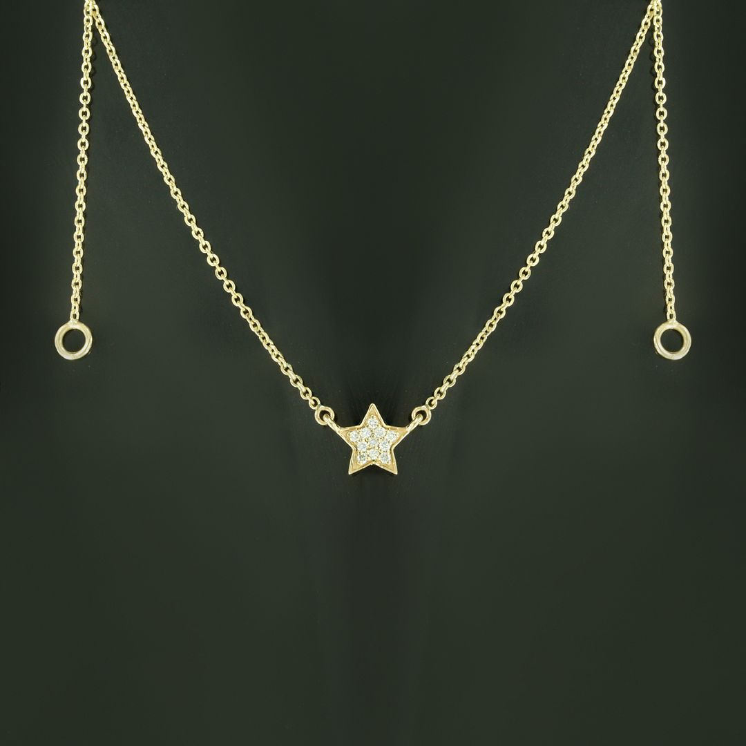 14K Gold 0.07 Ct. Diamond Star Charm Pendant Necklace Fine Jewelry