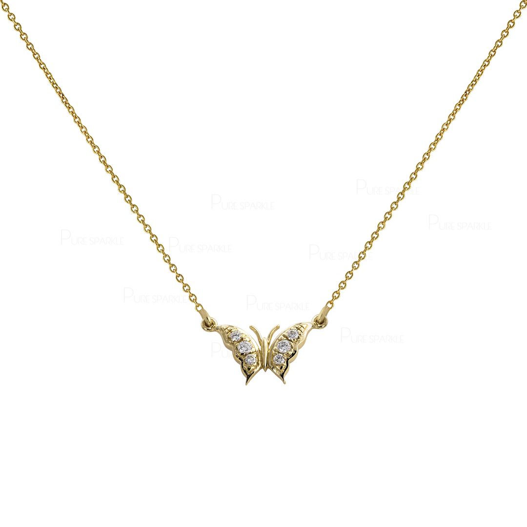 14K Gold 0.08 Ct. Diamond Butterfly Charm Pendant Necklace Jewelry