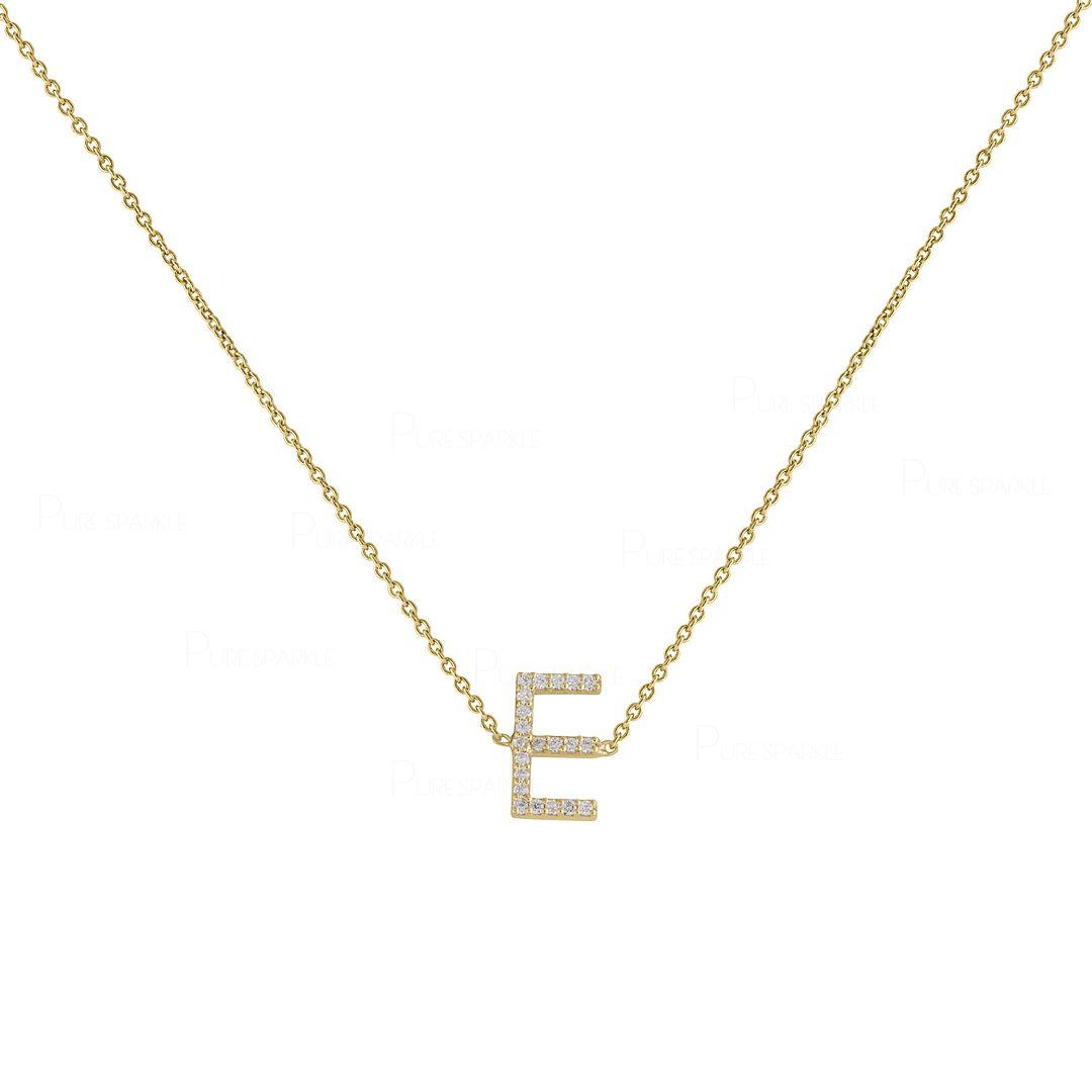14K Gold 0.06 Ct. Diamond Initial A to Z Alphabet Necklace Fine Jewelry
