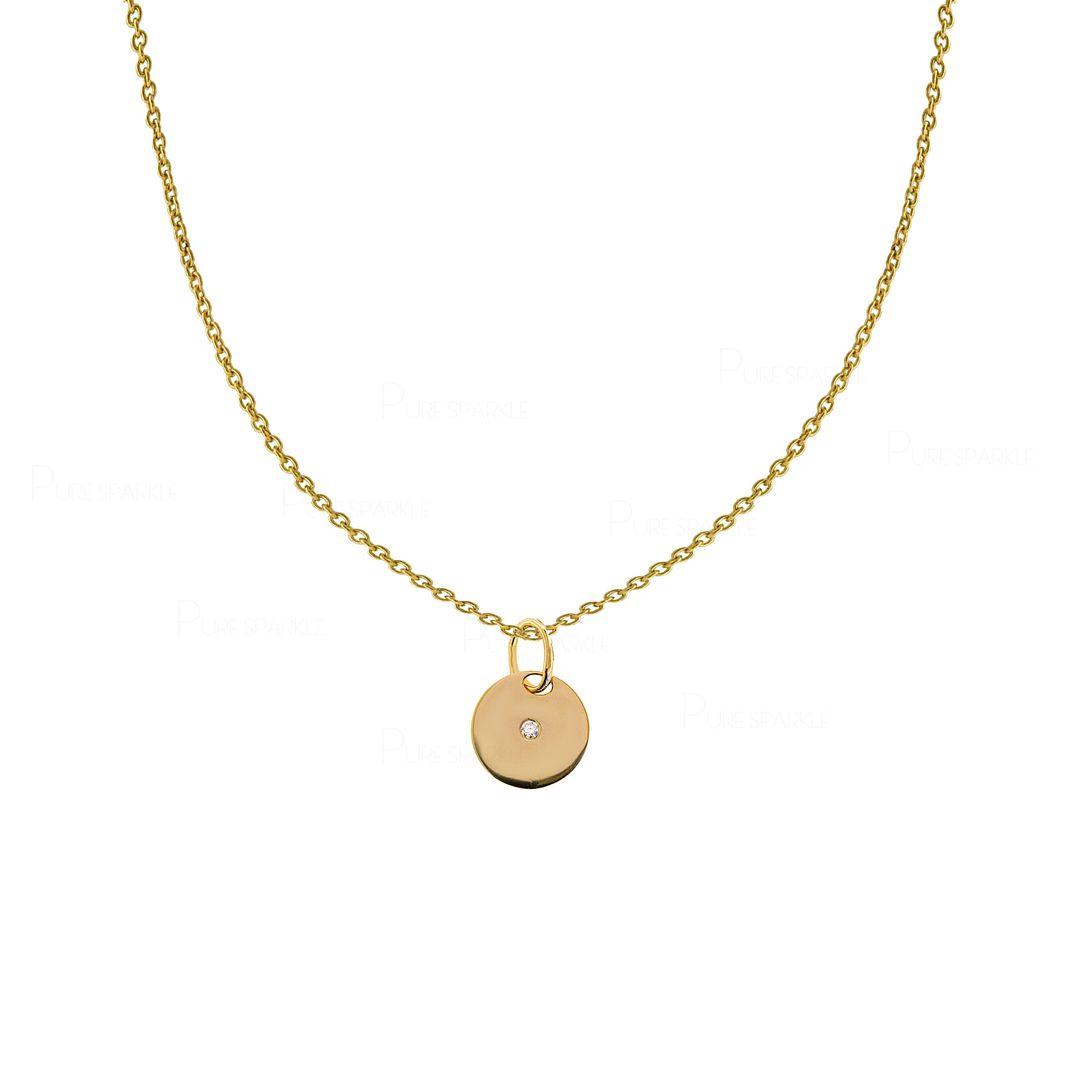 14K Gold 0.02 Ct. Diamond Solid Disc Pendant Necklace Fine Jewelry