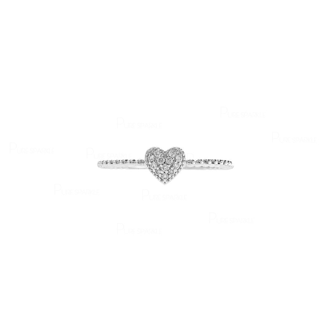 14K Solid Gold Beaded 0.06 Ct. Diamond Love Heart Ring Fine Jewelry