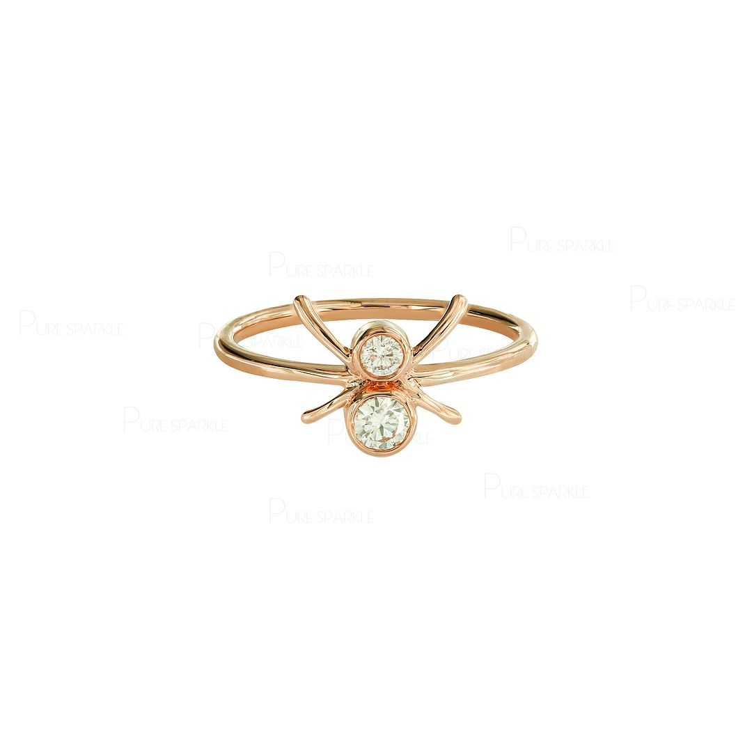 14K Gold 0.15 Ct. Diamond Spider Ring Fine Jewelry Size-3 to 8 US