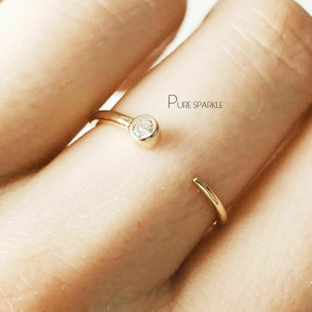14K Gold 0.05 Ct Genuine Diamond Open Cuff Band Ring Fine Jewelry Size-3 to 8US