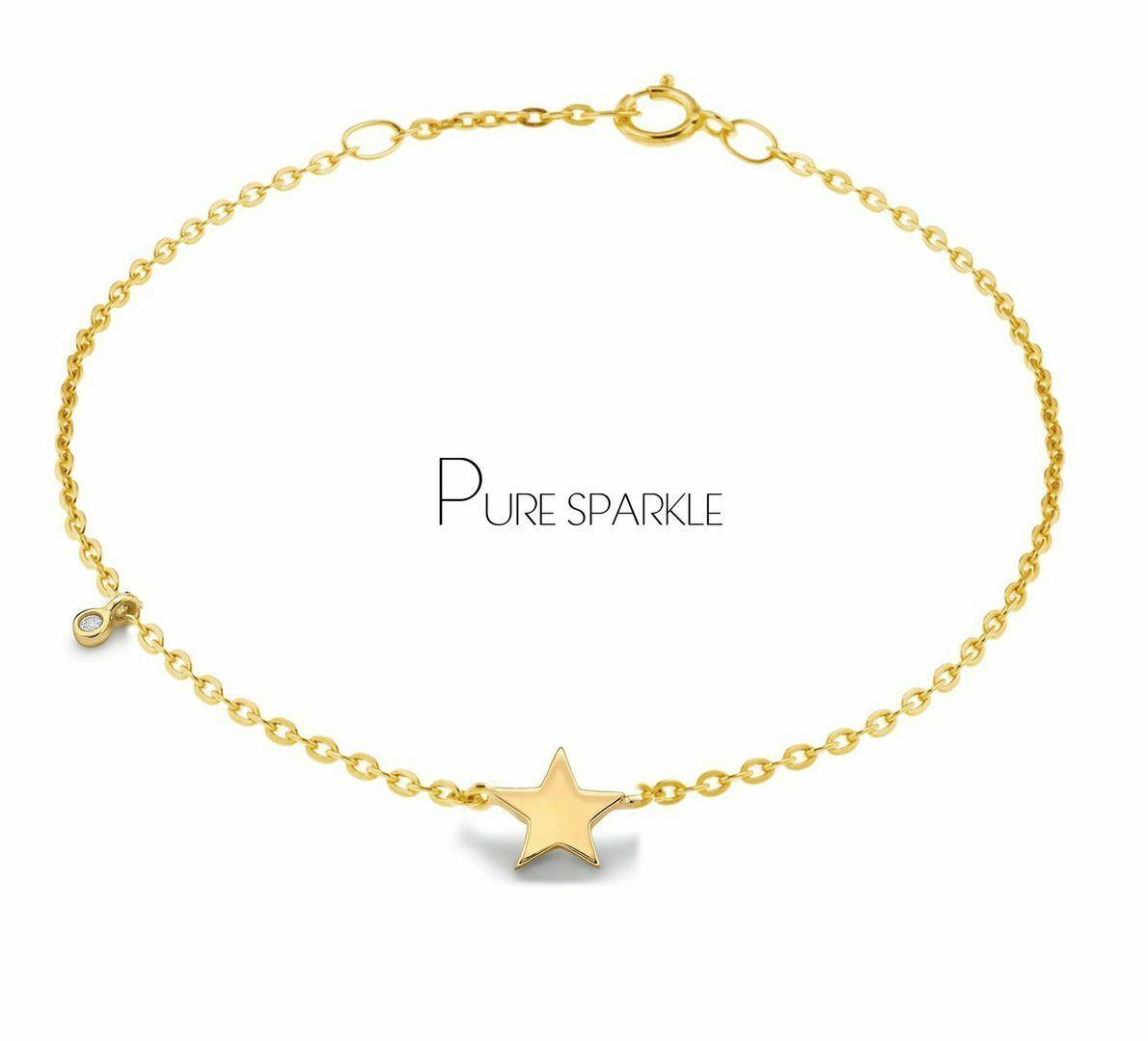 14k Solid Yellow Gold Genuine Diamond Woman/'s Star Bangle Bracelet Handmade Jewelry